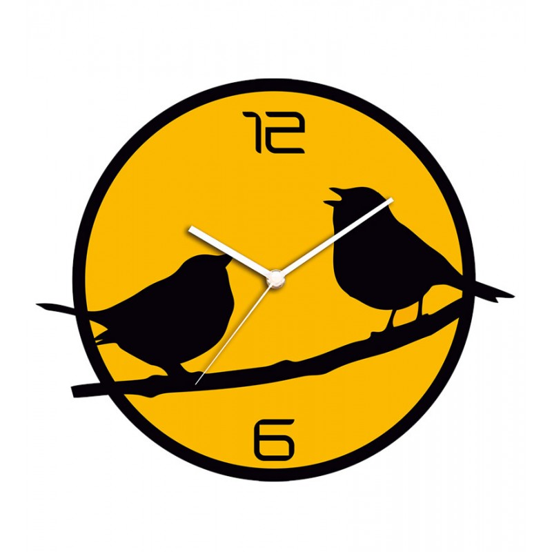 Two Birds On Tree Acrylic Wall Clock