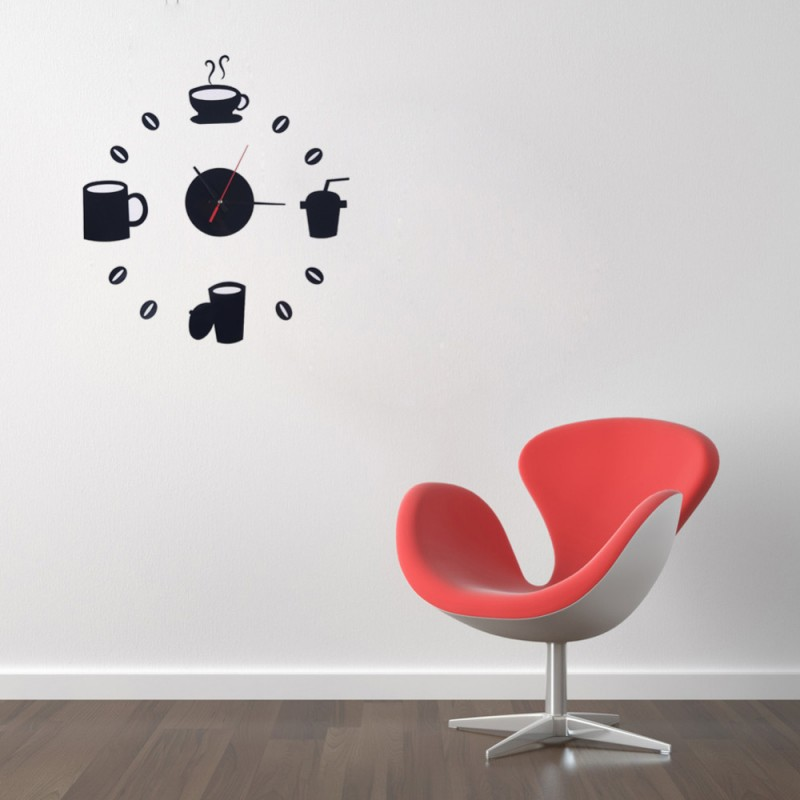 Tea Time Design Acrylic Wall Clock
