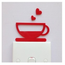Love Cup Red Acrylic Switch Panel Art