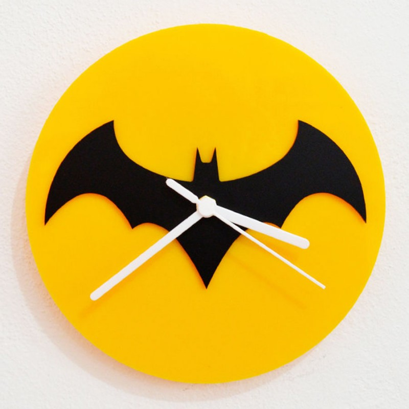 Batman Black & Yellow Silhouette Acrylic Wall Clock