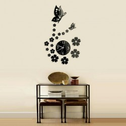 Flower and Butterfly Acrylic Wall Clock
