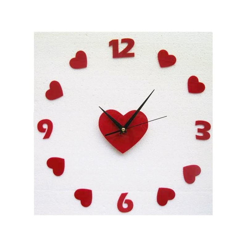 Red Hearts Acrylic Wall Clock