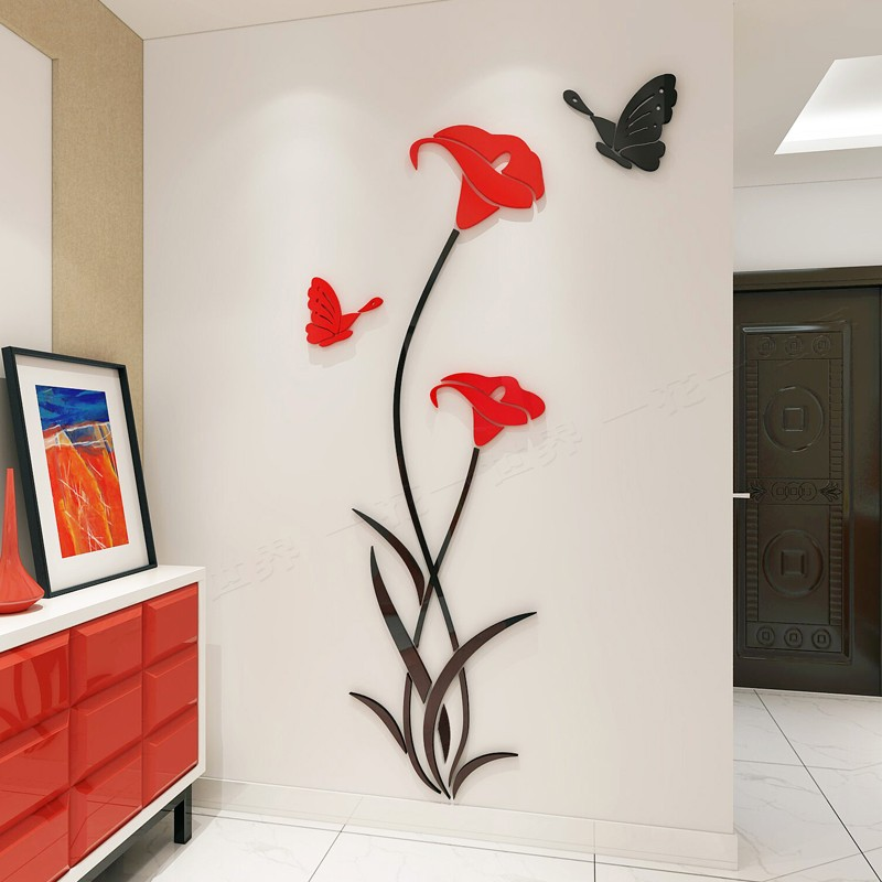 Flower and Butterfly Bail Acrylic Wall Art