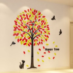 Kitty and Birds Happy Tree Acrylic Wall Art