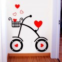 Love Hearts Bicycle Acrylic Wall Art