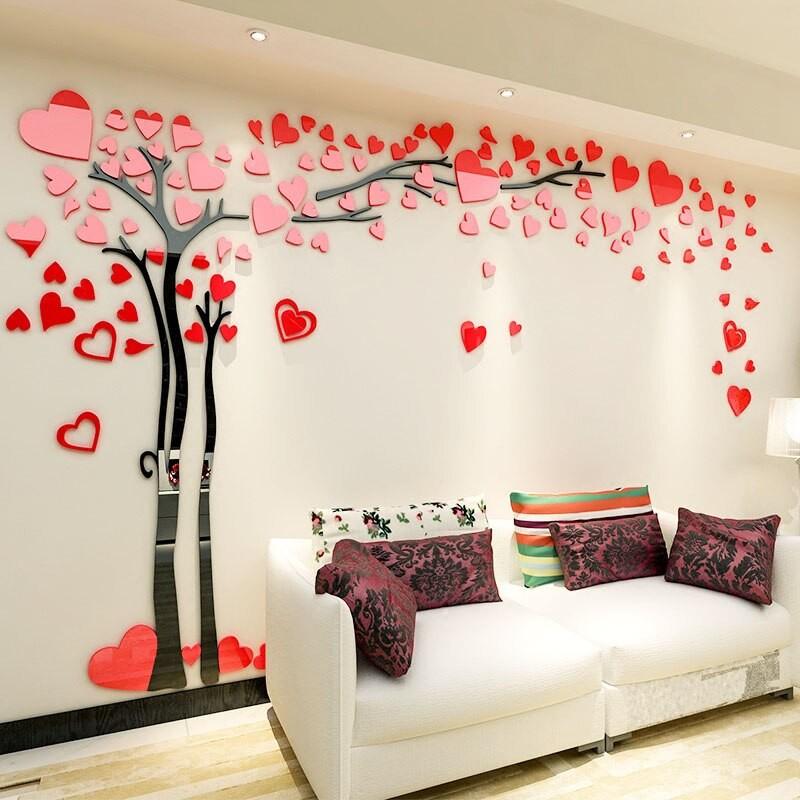 Tree with Heart Leaves Acrylic Wall Art