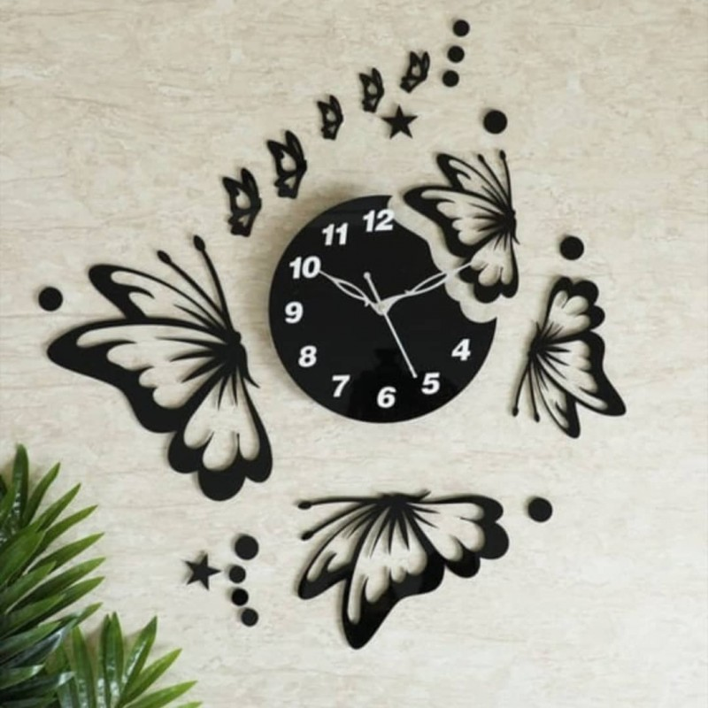 Butterfly With Stars Acrylic Wall Clock