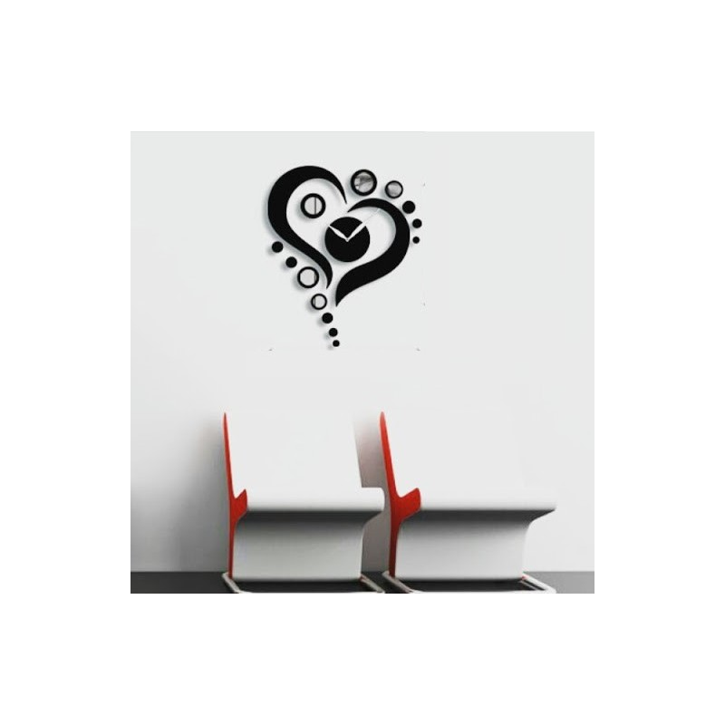 Heart Design Mirror Round Acrylic Wall Clock
